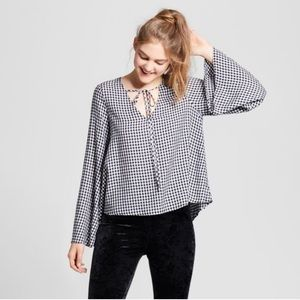Mossimo Gingham Bell Sleeve Top